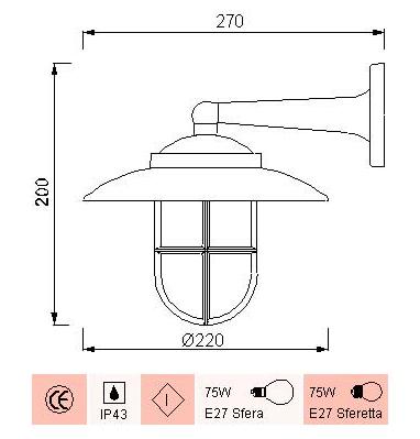 medidas de la lámpara aplique náutico para la pared