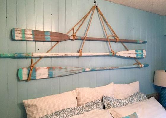 remos barca cabecero decoración marinera